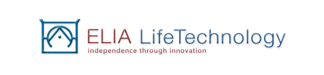 The Elia Life logo is a combination of the Elia Alphabet letters, E, L, I, and A.  The letters are stacked on top of each other to form a unique symbol that is the Elia Life Technology logo.  The logo, and the company name is accompanied by the Elia Life Technology slogan, Independence Through Simple Innovation